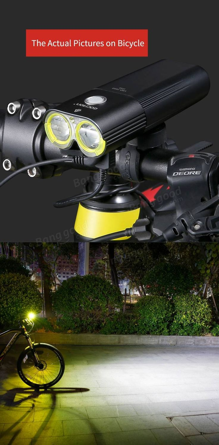 GACIRON 1600 LM Bike Front Headlight Cycling Bicycle Rechargeable Flashlight IPX6 Waterproof 5000mAh Power Bank Bike Accessories