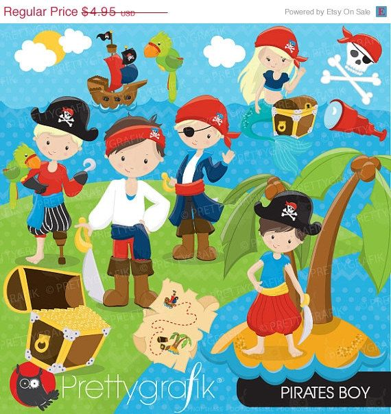 80% OFF SALE Pirate Boy clipart commercial use, vector graphics, digital clip art, digital images - CL647