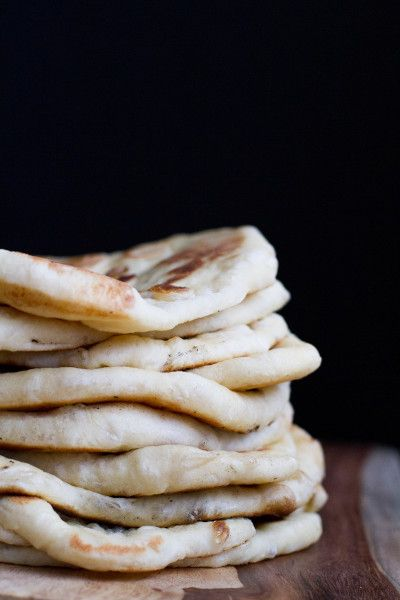 homemade naan w/ white sugar, active dry yeast, bread flour, baking powder, baking soda, whole milk, greek yogurt & butter/ghee
