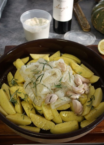 Oven Roasted Calamari with Potatoes Recipe - Best Home Chef #dinner #food #lunch #mediterranean