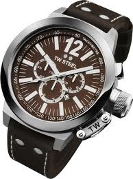 TW Steel 50mm Stainless Steel Chronograph with Brown Dial on a Brown Leather Stitched Strap from the CEO Collection