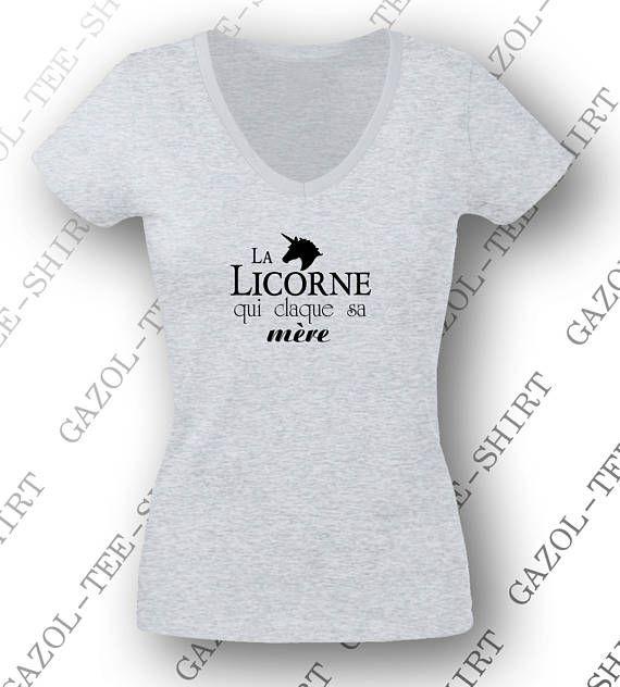 Tee-shirt femme 100% coton  La licorne qui claque sa