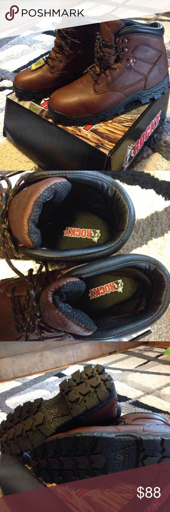 Rocky Steel Toe Boots Size 12W  New with the original box My husband wore it once for 3 hours, was too small for him. Has one scratch, that's why I sell this cheap. Rocky Shoes Boots
