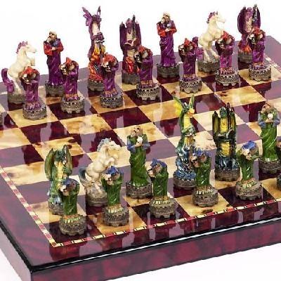 Fantasy Chessmen U0026 Chelsea Park Deluxe Mahogany Chess Board
