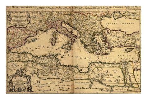 1685 Map of the Mediterranean Sea and Coastal Lands Prints at AllPosters.com