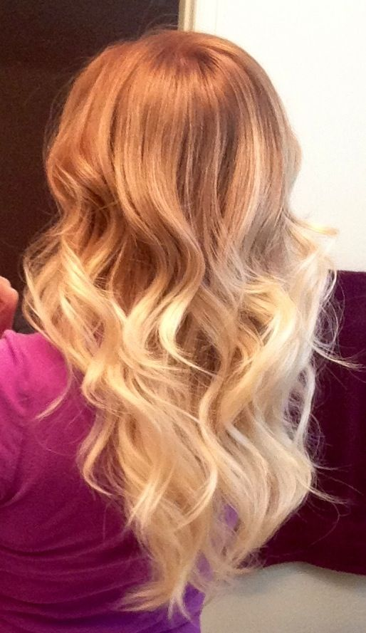 Strawberry Blonde to Platinum Blonde Ombre Hair.... I would go for brown up top and avoid red since mines finally growing out