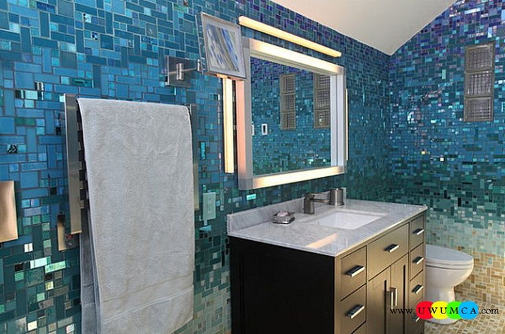 Bathroom:Decorating Modern Summer Bathroom Decor Style Tropical Bath Tubs Ideas Contemporary Bathrooms Interior Minimalist Design Decoration Plans Bathroom With Blue Mosaic Tiles Cool and Cozy Summer Bathroom Style : Modern Seasonal Decor Ideas