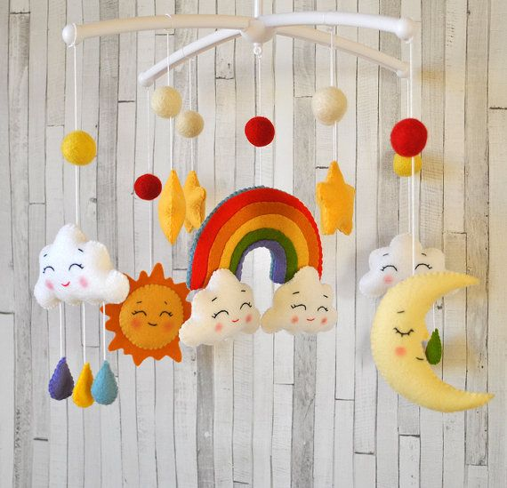 Classroom Mobiles Ideas : Baby mobile rainbow clouds moon sun by