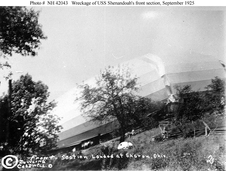 Crash of USS Shenandoah (ZR-1), 3 September 1925    Wreckage of the airship's forward section, soon after it landed near Sharon, in southeastern Ohio.  Photographed by Dowling, Caldwell, Ohio.  This view shows the forward section from off its port side.    Courtesy of Allan J. Drugan, 1967.    U.S. Naval Historical Center Photograph