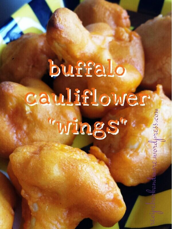 """Buffalo Cauliflower """"Wings"""" - great meatless option. Dip in ranch or blue cheese. Baked not fried!"""