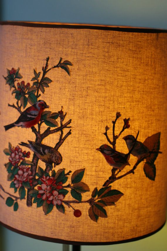 Gorgeous Vintage Lampshade with appliqued birds by MintyKeen, $95.00