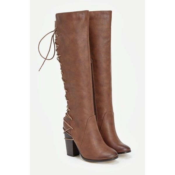 Justfab Heeled Boots Krishna (€41) ❤ liked on Polyvore featuring shoes, boots, brown, brown heeled boots, knee high heel boots, platform heel boots, wide calf boots and wide calf tall boots