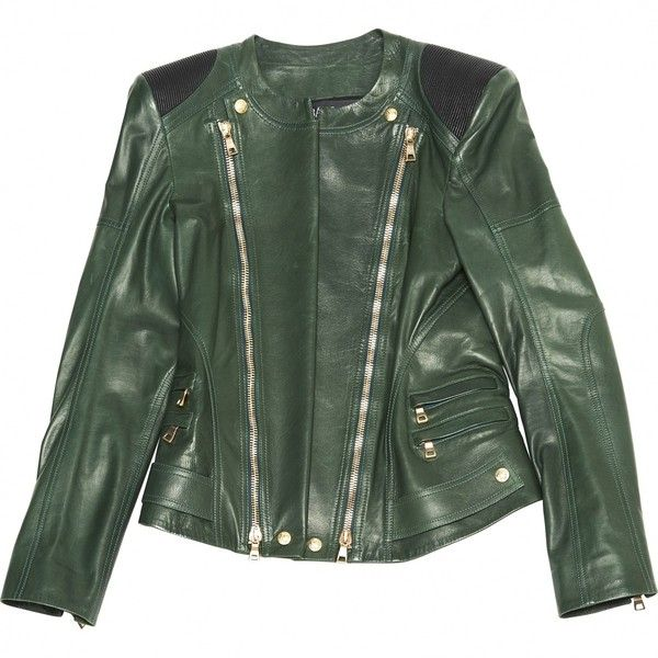 Pre-owned Balmain Leather Jacket ($1,955) ❤ liked on Polyvore featuring outerwear, jackets, green, women clothing jackets, balmain, green leather jacket, 100 leather jacket, leather jackets and real leather jackets