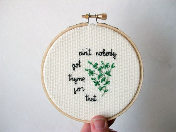 Thyme for That cross stitch  completed mini cross by aliciawatkins, $21.99
