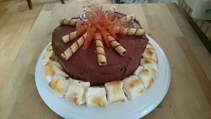 Campfire cake. Fire coloured inside.