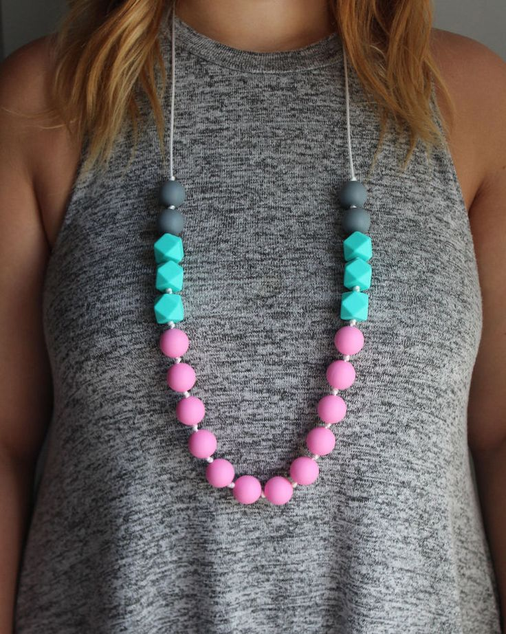 Silicone teething necklace with grey, turquoise and pink beads, for baby and mom