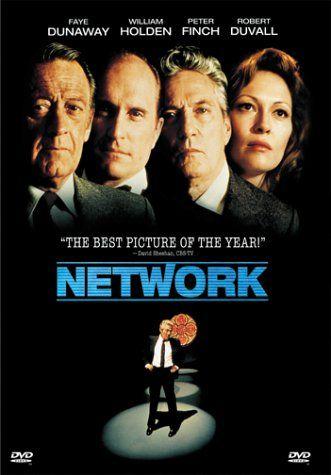 Sidney Lumet's Network (1976) starring Faye Dunaway, William Holden, Peter Finch, and Robert Duvall.