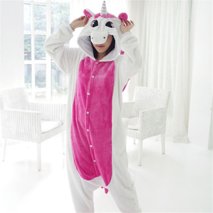 Flannel Unicorn Animal Onesie Pajamas Unisex Animal PJ Blue Or Hot Pink
