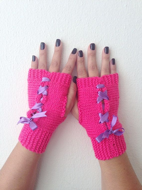 Pink and purple  bow  Fingerless GlovesWool by NesrinArt on Etsy, $21.00