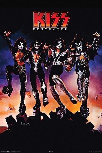 The KISS (band) Block on Yardsellr photo Kiss Rock Band Group Shot Destroyer Poster