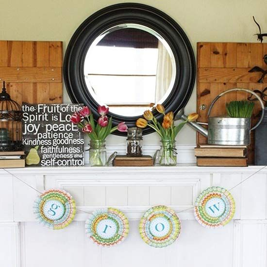 Pretty Banner Spring Mantel: Round Mirror, Spirit Signs, Fans, Decoration Idea, Growing Banners, Spring Mantels, Pretty Banners, Easter Mantels, Banners Spring