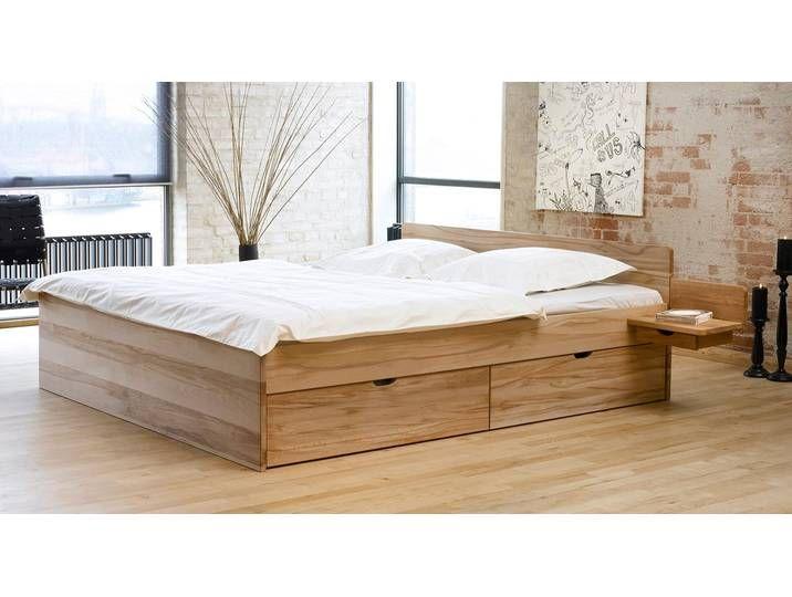 Bett Mit Bettkasten 160x200 Cm Kernbuche Natur