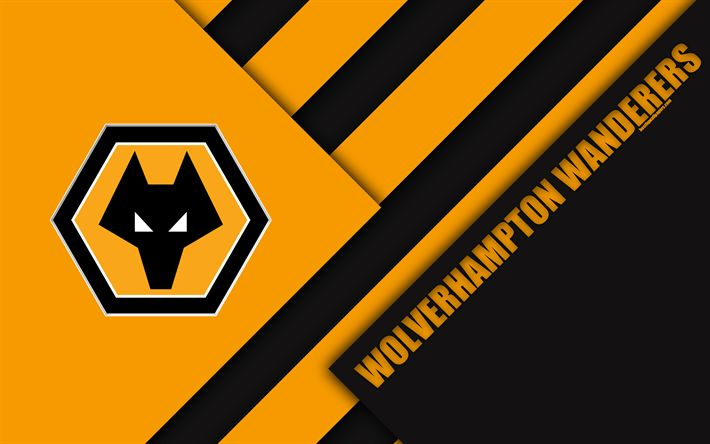 Download wallpapers Wolverhampton Wanderers FC, logo, 4k, orange-black abstraction, Wolves FC, material design, English football club, Wolverhampton, England, UK, football, EFL Championship