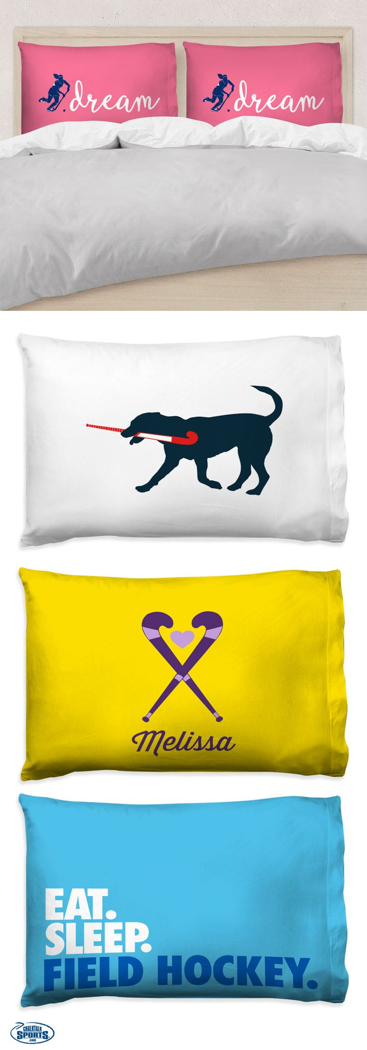 Custom and personalized pillow cases for your field hockey player! They make a great gift and will add a touch of field hockey spirit to any room!