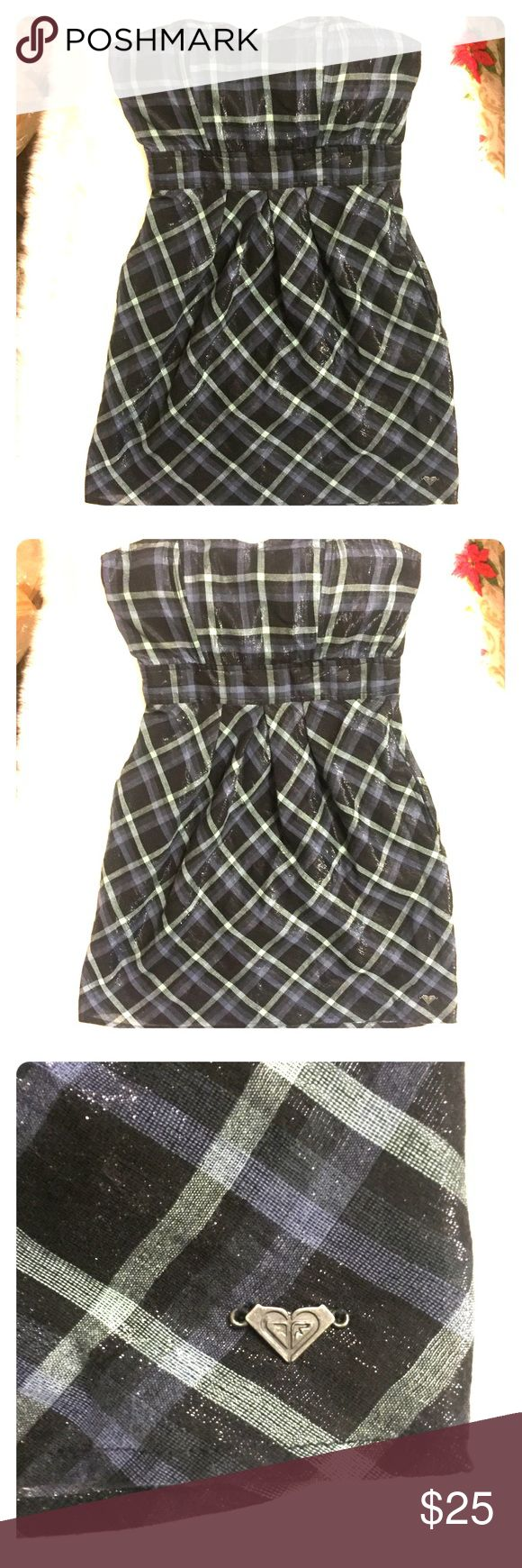 """Small Strapless Metallic Plaid Roxy Dress Approximately 25"""" length. Fully lined. 24"""" waist unstretched. Smocked elastic back. In EUC!! Plastic stays (I think that's what they are called) in the bodice front to keep the shape, like a corset- one on each side.  Wear casually with jean jacket and converse. Dress up with a black shrug and Platform heels. Roxy Dresses Strapless"""