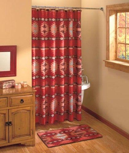 Rustic Santa Fe Bathroom Collection Southwestern Shower Curtain Hooks Accessory