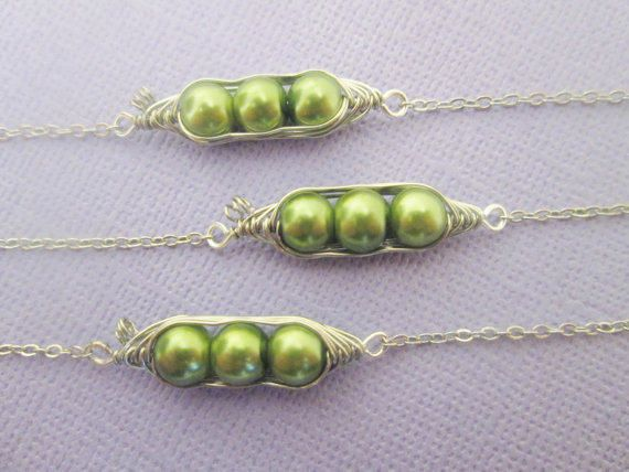 3 best friends Three peas in a pod green wire wrapped bracelet (adjustable)