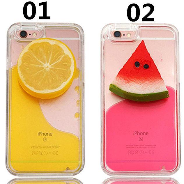 Coque iPhone5S/6S/6Splus rigide liquide avec décoration citron/pastèque pour été