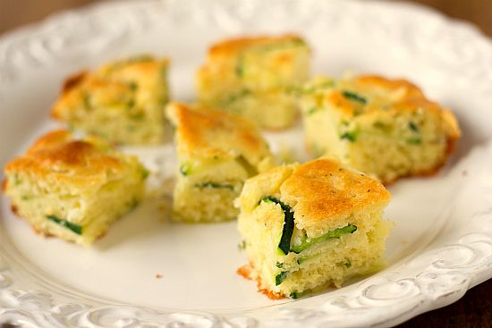 Zucchini squares as appetizers - savory, not sweet.  Try substituting the Bisquick for?