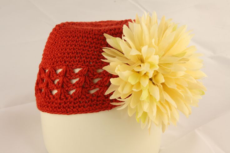 Red Knit Hat with Cream Poof Flower