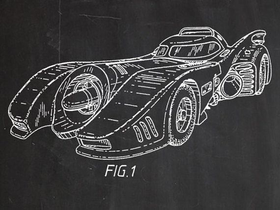 This is a vintage patent print. The Batman Batmobile from 1992.  This poster is printed using high quality archival inks, and will be of museum quality. Any of these posters will make a great affordable gift, or tie any room together.  Please choose between different sizes and colors.  These posters are shipped in mailing tubes via USPS First Class mail. All items will ship in 2-3 business days.  Please note: Image colors could vary slightly from one computer monitor to another due to…