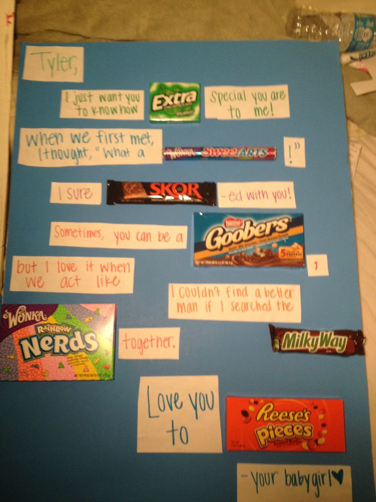 Candy birthday card boyfriend. Totally want to do this for Ayush! Wish i thought of it!
