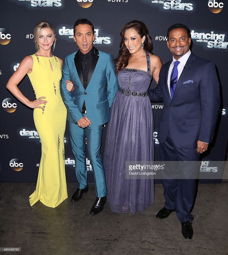 Judges Julianne Hough, Bruno Tonioli, and Carrie Ann Inaba and guest judge Alfonso Ribeiro attend 'Dancing with the Stars' Season 21 at CBS Televison City on September 28, 2015 in Los Angeles, California.