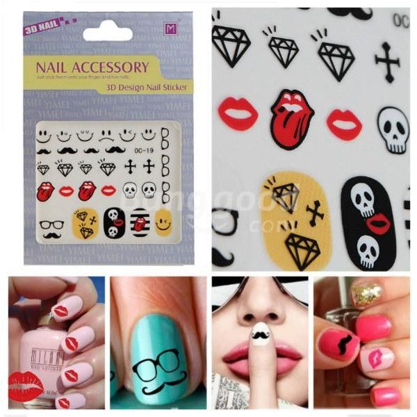 Funny Series Sticker Moustache Geek Nail Art Decals (7.08 CNY) found on Polyvore