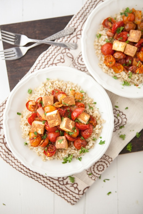 Roasted Curried Tomatoes with Fried Paneer and Rice | Recipe