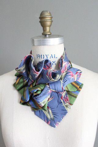 Aster in Birds of Paradise Refashioned Silk Vintge necktie Collar - Lilian Asterfield