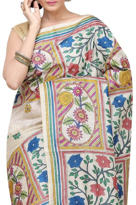 Buy Online Chiku Hand Brush Painted & Kantha Tussar Silk Saree . India's Best Ethnic Wears & Wares