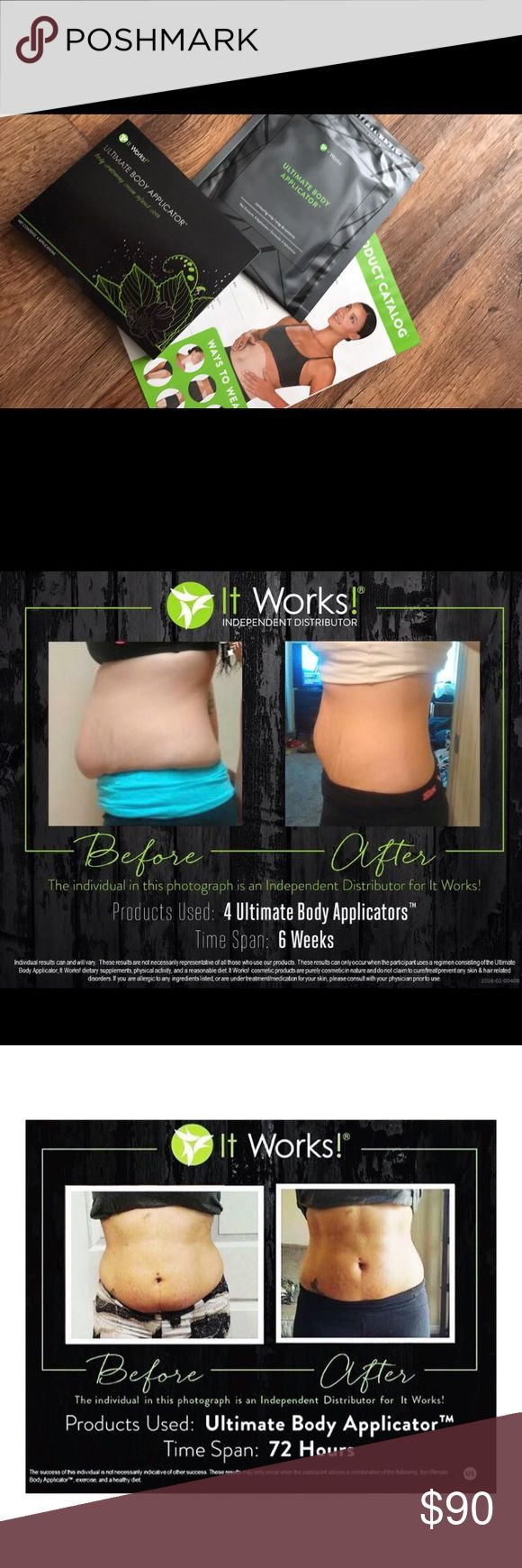 Itworks Ultimate Body Applicators (wraps!) These Ultimate Body Applicators are infused with a botanically based formula! They: •Tighten, tone, & firm skin  •Redefines the appearance of your body's contours  •Improves skin texture & tightness  •Mess free & simple to use  •Results in as little as 45 minutes  •Fast & lasting results with continued use •Contains botanical extracts  I have a total of 4 wraps on hand! $25 EACH or $90 for a pack of 4. Pic shows 2 packs, note that price is for ONE…