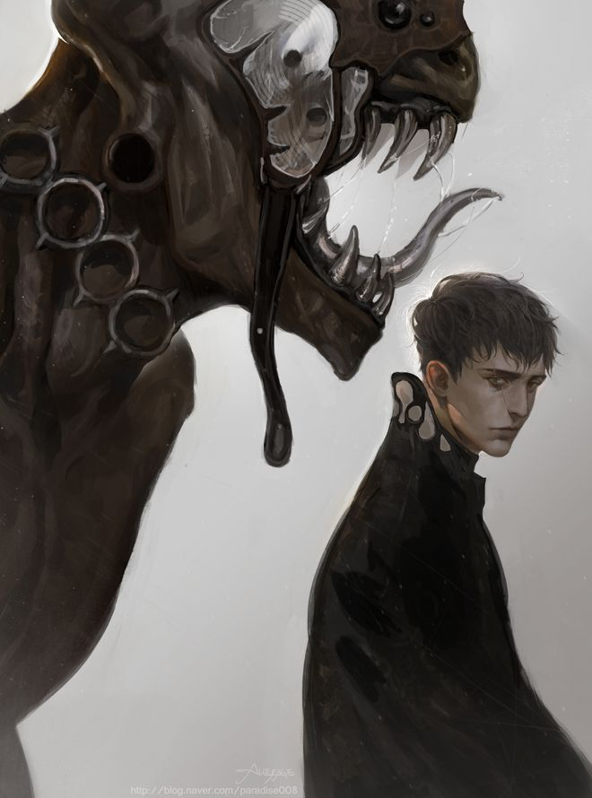 O jovem e seu monstro.