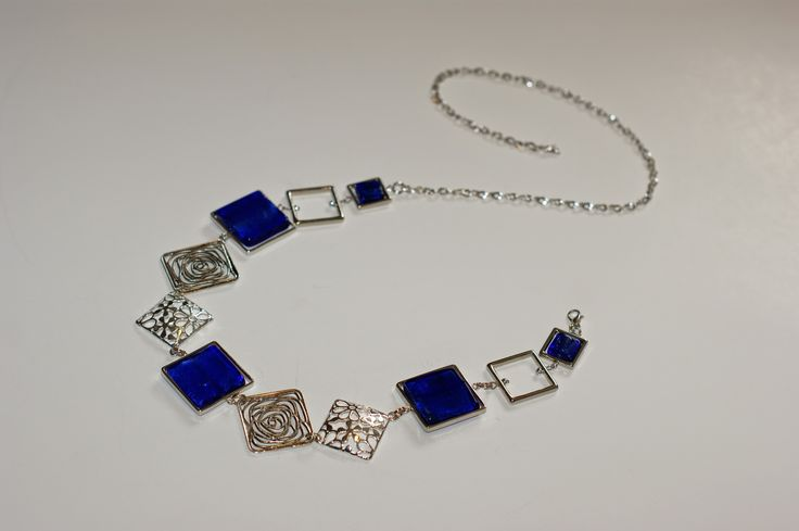 """Collier mi-long bleu royal"", ""Bijou bleu royal"", ""Collier asymétrique"", : Collier par bijouxlibellule"