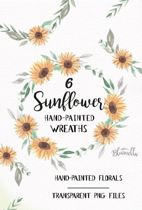 Sunflower Wreaths 6 Watercolour Garlands Floral Yellow Clipart