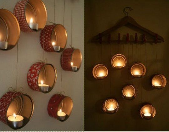 Tuna Can Wall Candles - or use cat food cans