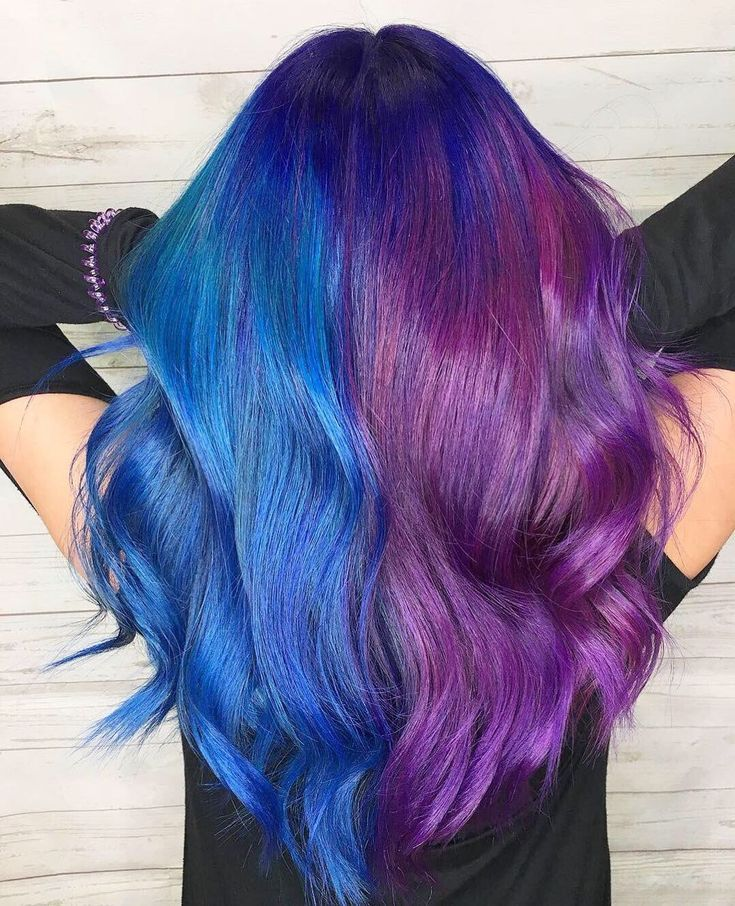 Half Blue Half Purple Hair Google Search Purple Hair Blue Purple Hair Hair Inspo Color