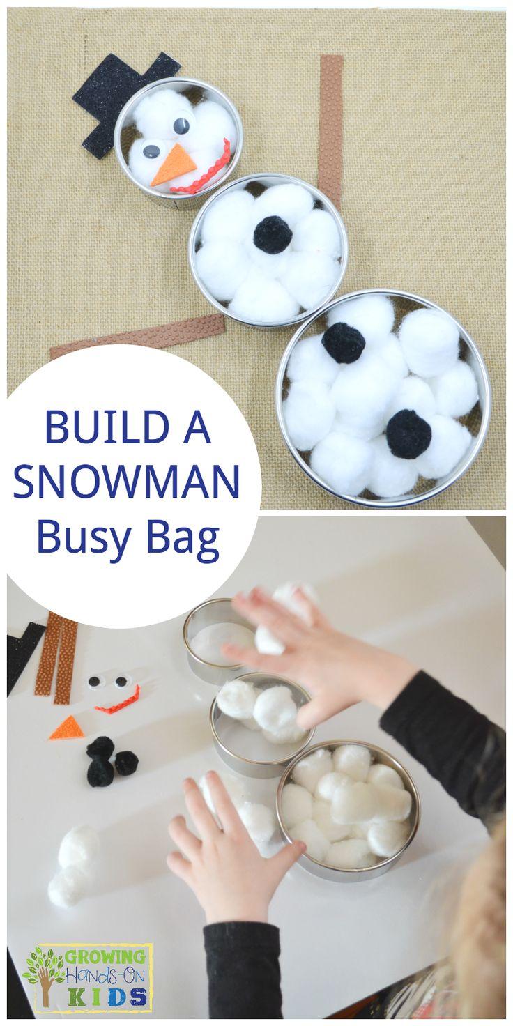 Build a snowman busy bag for preschoolers, perfect winter quiet activity.  via @growhandsonkids