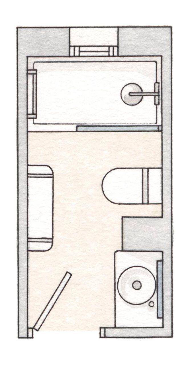 De 4 m2. En poco espacio, la distribución en línea es una de las que aprovecha mejor los metros. Otro detalle: lo más voluminoso al fondo: la ducha.