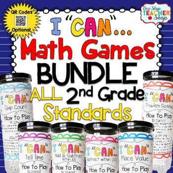 Math Centers have never been this much fun! This bundle of 2nd Grade Math Games focuses on ALL 2nd Grade Common Core Math Standards, and provides students with practice in the form of multiple choice or short answer questions. QR codes (optional) make these math games even more interactive as students get immediate feedback on their work!